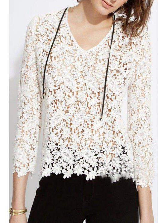 women's Lace V Neck Nine-Minute Sleeve Blouse - WHITE S