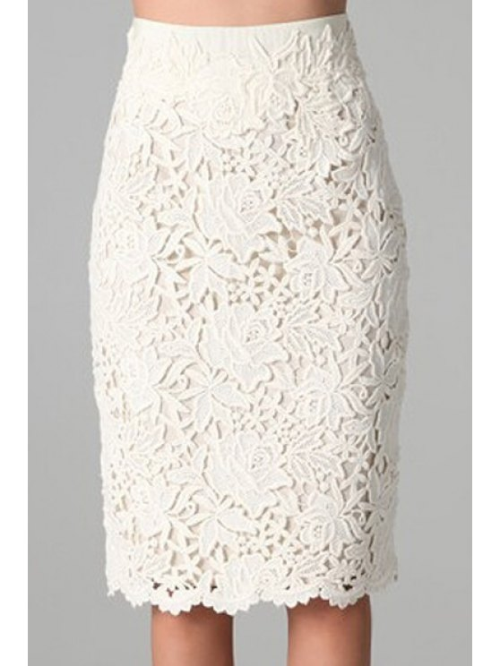 women's White Lace Bodycon Skirt - WHITE S