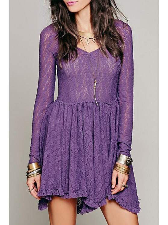 outfits Ruffled V Neck Long Sleeve Lace Dress - PURPLE S