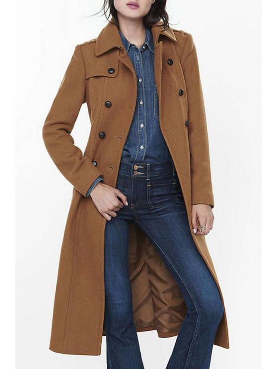 womens Long Sleeve Double-Breasted Wool Coat - CAMEL S