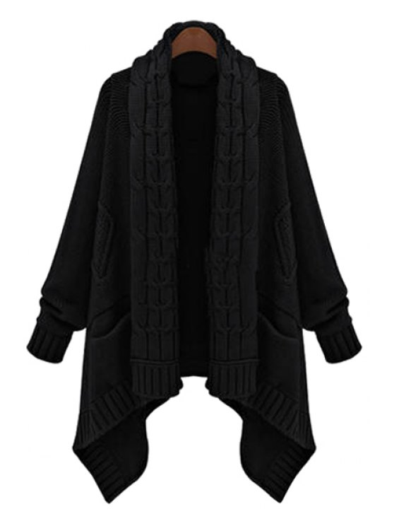 unique Cable Knit Irregular Hem Cardigan - BLACK ONE SIZE(FIT SIZE XS TO M)