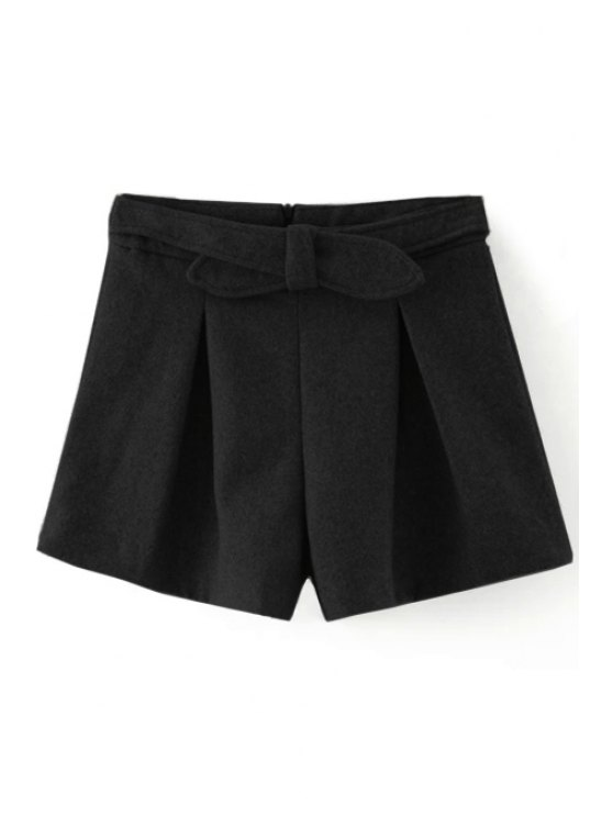best Solid Color Wide Leg Bowknot Shorts - BLACK S