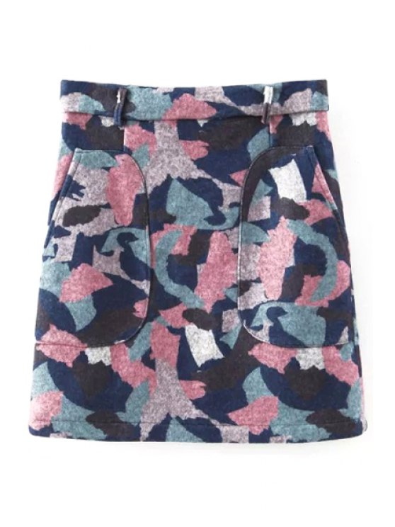 online Colored Print High Waist Worsted Skirt - BLUE S