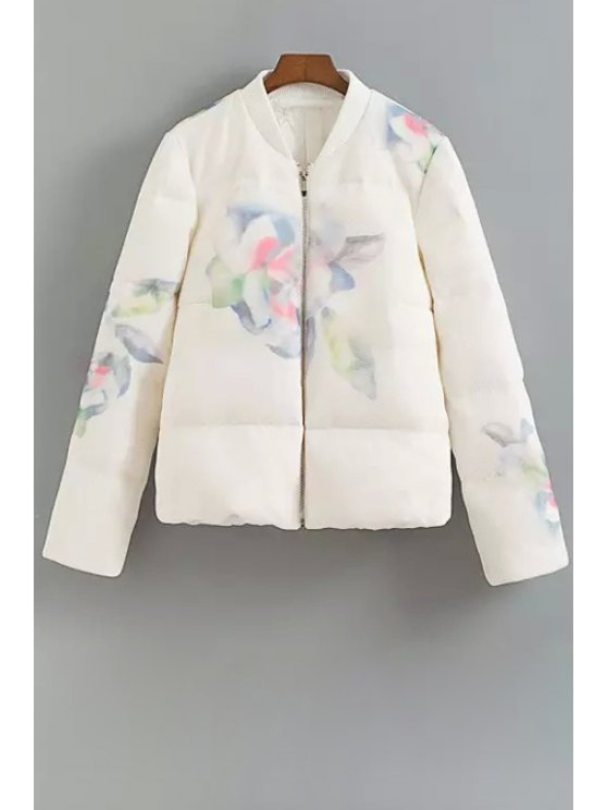 fashion Floral Stand Neck Long Sleeve Down Coat - WHITE S