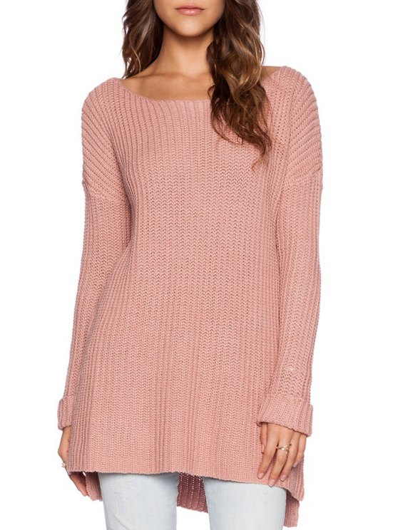 affordable Pink Scoop Neck Long Sleeve Jumper - PINK ONE SIZE(FIT SIZE XS TO M)