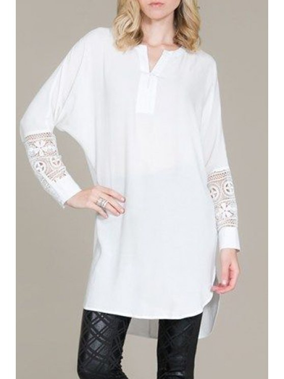 outfit Lace Splicing V Neck Long Sleeve Blouse - WHITE S