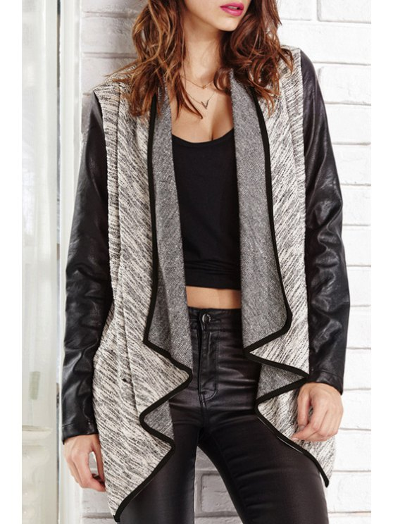 shops PU Leather Splicing Long Sleeves Coat - GRAY S