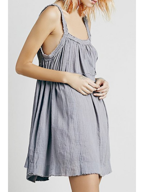 womens Solid Color Backless Spaghetti Straps Dress - GRAY ONE SIZE(FIT SIZE XS TO M)