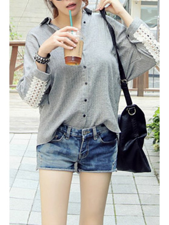 women Striped Lace Spliced Flat Collar Long Sleeves Shirt - GRAY ONE SIZE(FIT SIZE XS TO M)