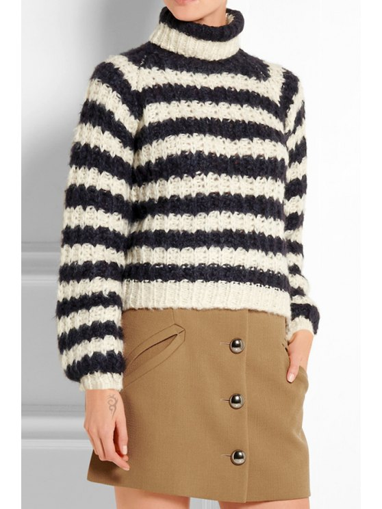 outfit Stripes Turtle Neck Long Sleeve Jumper - WHITE AND BLACK S