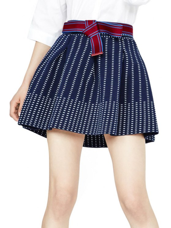 outfit Striped A Line Skirt - PURPLISH BLUE S