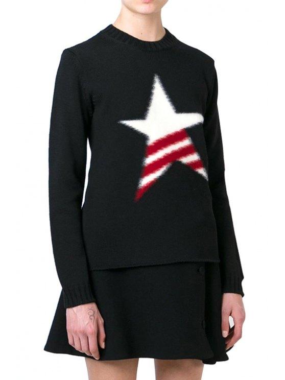 womens Star Pattern Round Neck Long Sleeve Jumper - BLACK S