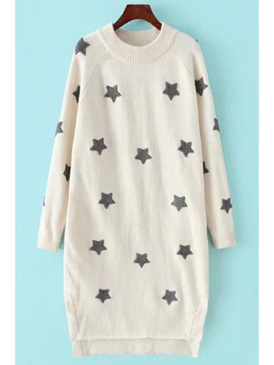 affordable High Low Hem Pentagram Print Round Collar Sweater - WHITE XS