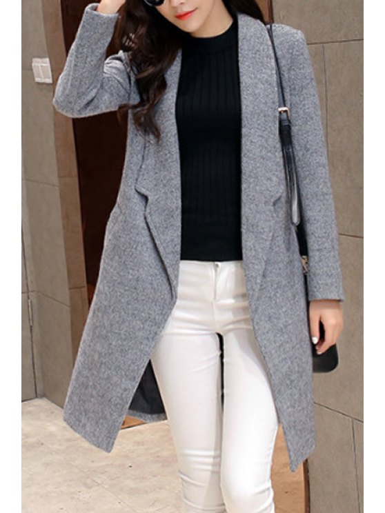 best Solid Color Pocket Design Wool Coat - LIGHT GRAY S