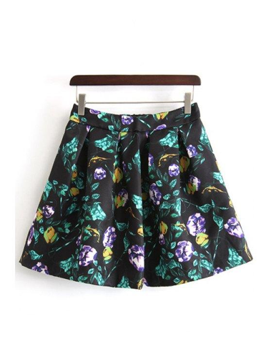 shops A-Line Ruffled Floral Print Skirt - BLACK S