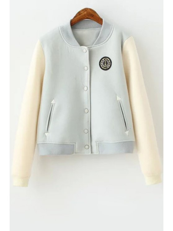 sale Space Cotton Color Block Stand Collar Coat - LIGHT BLUE S