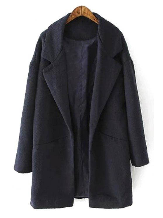 ladies Solid Color Long Sleeves Turn-Down Collar Coat - BLACK S