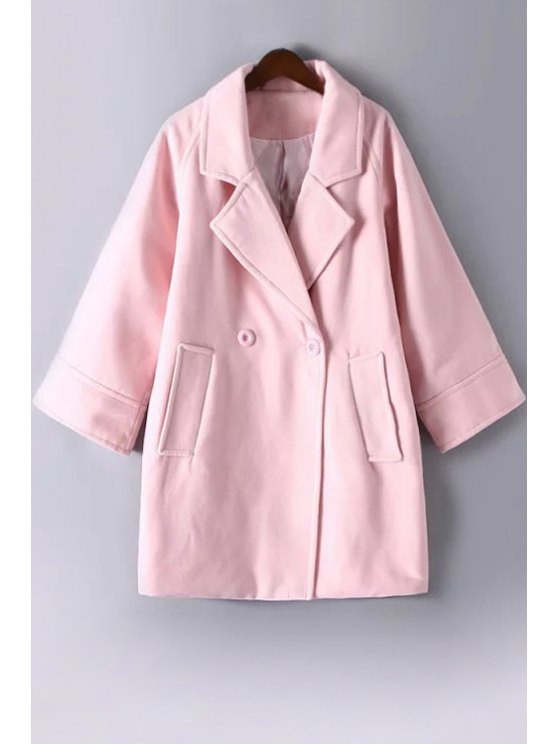 outfit Pure Color Lapel Collar Long Sleeves Peacoat - PINK M