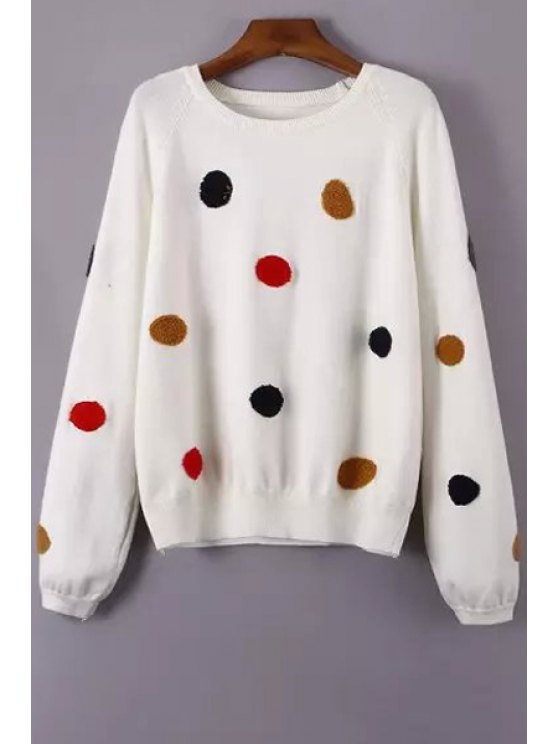 fancy Round Neck Polka Dot Flocking Sweater - WHITE ONE SIZE(FIT SIZE XS TO M)