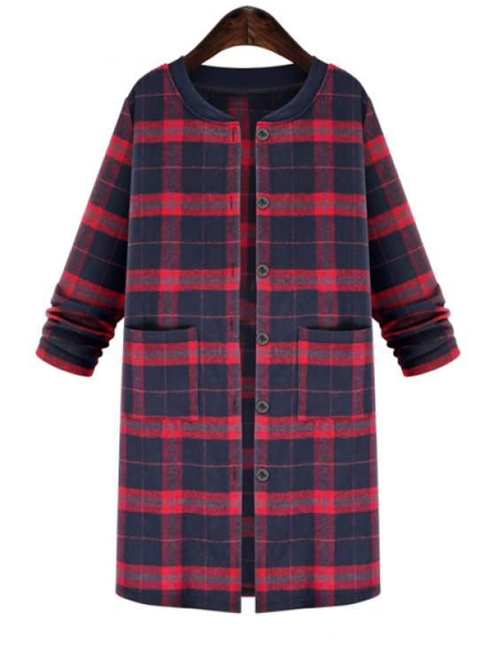 buy Plaid Pattern Stand Neck Long Sleeve Coat - RED XL