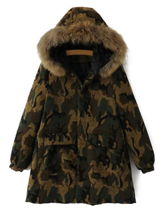 womens Camouflage Hooded Long Sleeves Coat - CAMOUFLAGE M