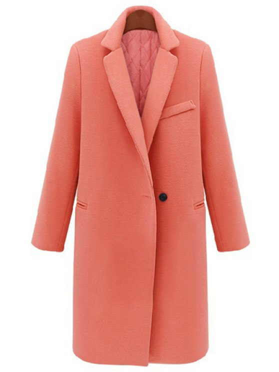 hot Lapel Collar Pure Color Long Sleeves Coat - ORANGEPINK ONE SIZE(FIT SIZE XS TO M)