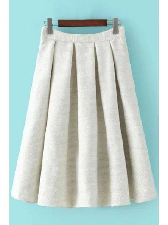 women High-Waisted A-Line Winter Skirt - WHITE L