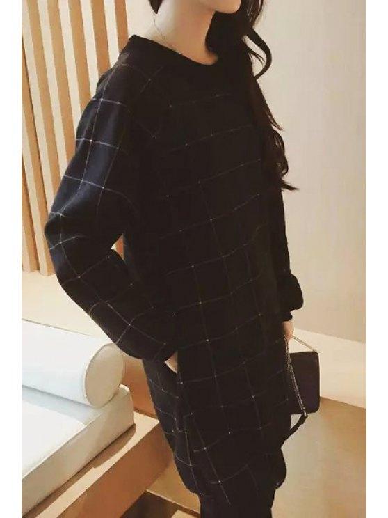 ladies Checked Round Collar Long Sleeves Dress - BLACK M