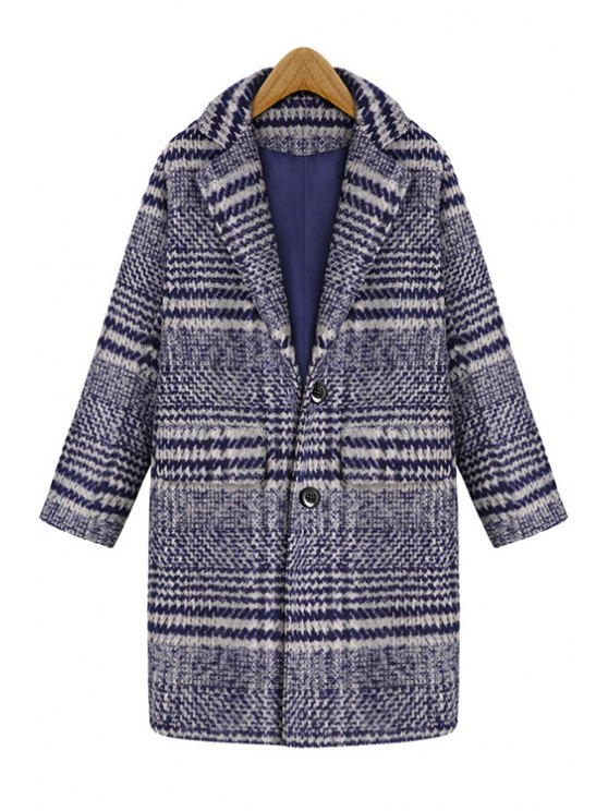 trendy Stripes Lapel Collar Long Sleeve Coat - BLUE L