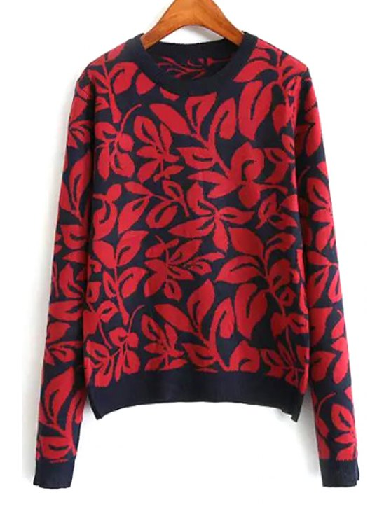 lady Jacquard Round Collar Long Sleeves Sweater - RED S