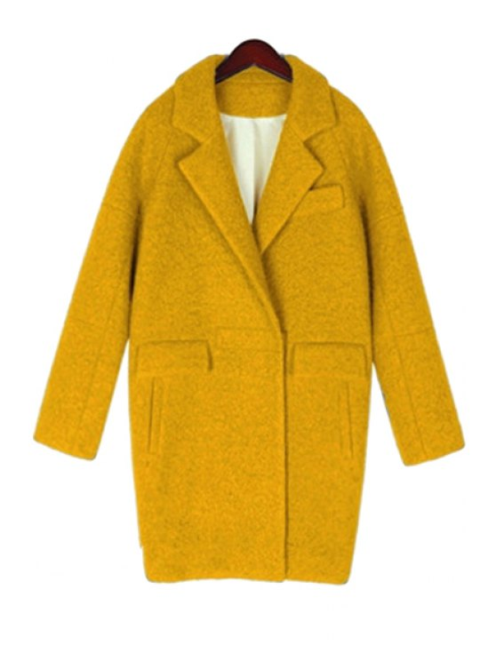 affordable Worsted Pure Color Lapel Long Sleeve Coat - YELLOW S