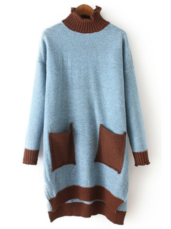 sale Turtle Neck Two Pockets Side Slit Sweater - BLUE ONE SIZE(FIT SIZE XS TO M)