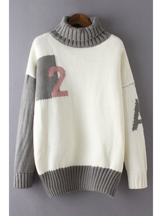 women Color Block Turtle Neck Letter and Number Print Sweater - GRAY ONE SIZE(FIT SIZE XS TO M)