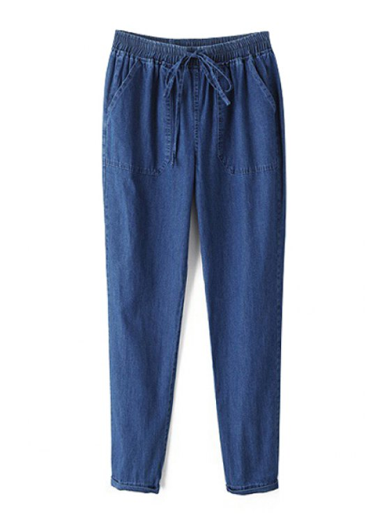 outfits Two Pockets Blue Jogger Jeans - BLUE S