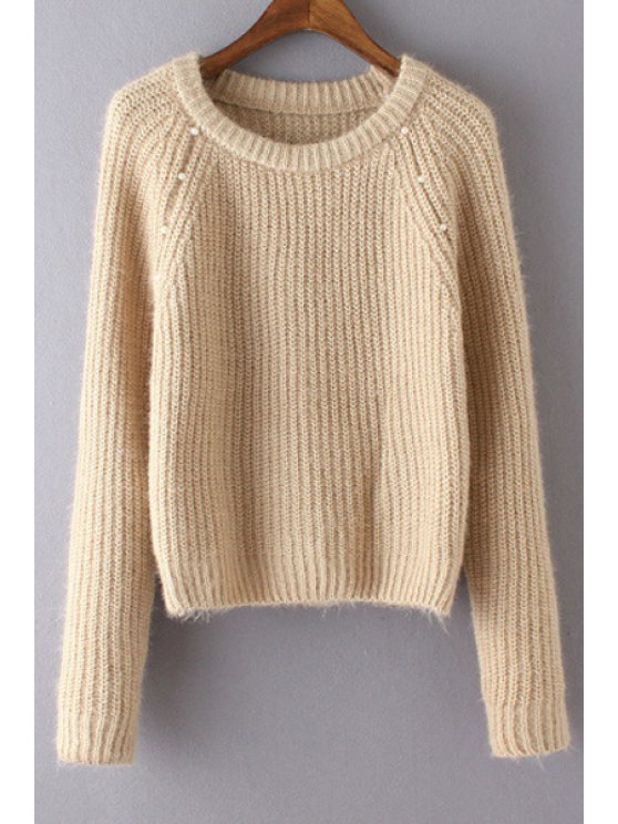 trendy Pure Color Beaded Round Neck Long Sleeves Sweater - KHAKI ONE SIZE(FIT SIZE XS TO M)
