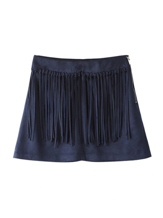 new Fringed Zip Up Blue Suede Skirt - BLUE L