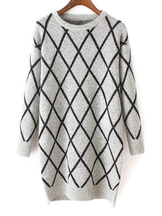 buy Argyle Pattern Round Neck Long Sleeves Sweater - OFF-WHITE ONE SIZE(FIT SIZE XS TO M)