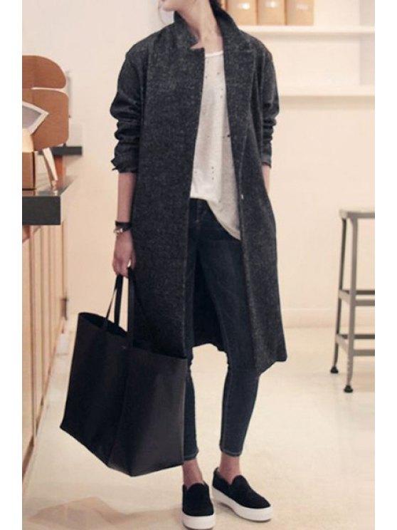 unique Gray Lapel Collar Long Sleeves Coat - GRAY S