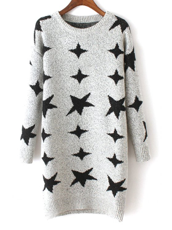 women's Pentagram Print Round Neck Long Sleeves Sweater - LIGHT GRAY ONE SIZE(FIT SIZE XS TO M)