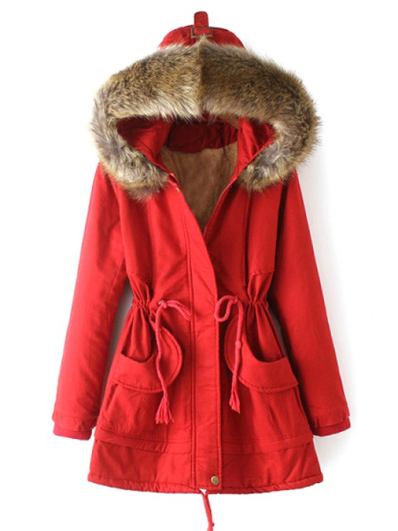 ladies Solid Color Drawstring Hooded Long Sleeves Padded Coat - RED M