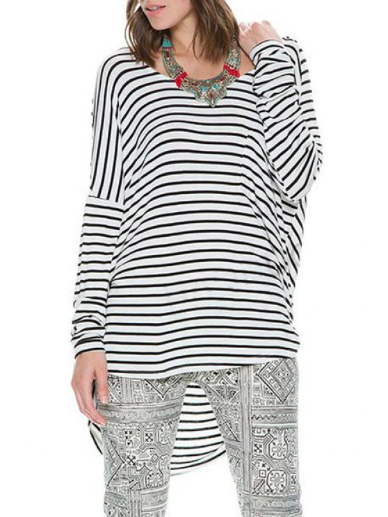 hot Stripes Long Sleeve Backless T-Shirt - WHITE AND BLACK ONE SIZE(FIT SIZE XS TO M)
