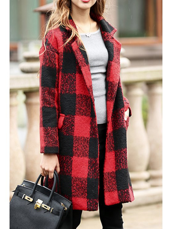 latest Lapel Plaid Two Pockets Wool Coat - RED M