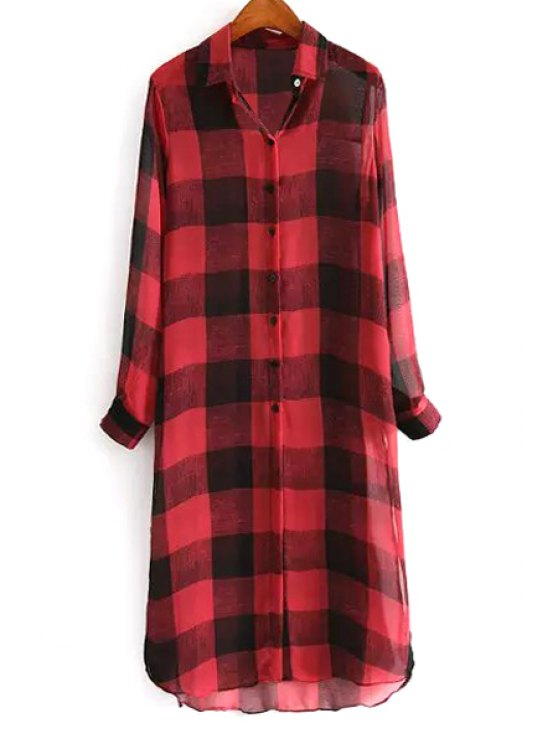 outfits Plaid Shirt Collar Long Sleeves Long Shirt - RED S