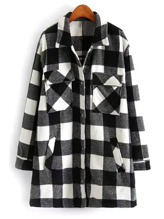 women Plaid Flat Collar Long Sleeves Woolen Coat - GREY AND WHITE S