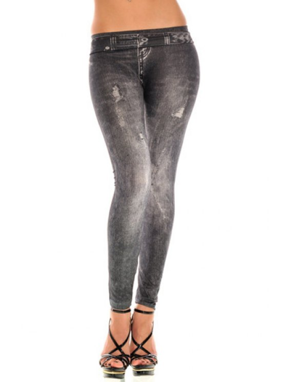 outfit Narrow Feet Broken Hole Low Waist Jeans - BLACK ONE SIZE(FIT SIZE XS TO M)