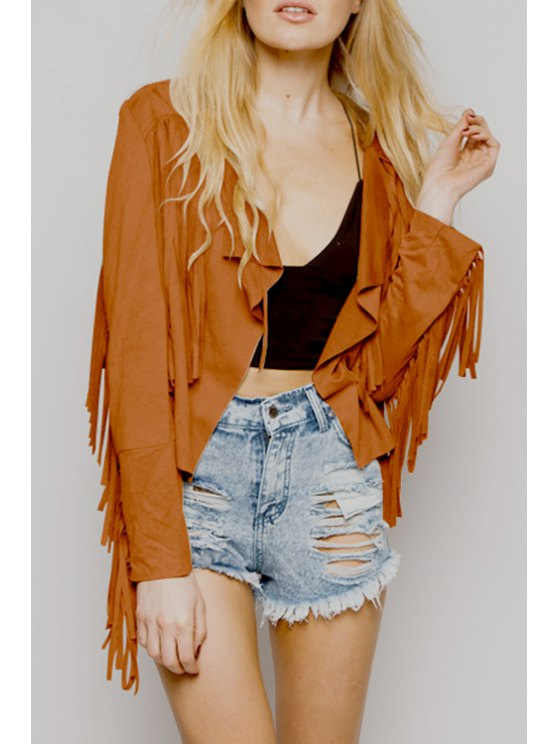 fashion Solid Color Tassels Suede Long Sleeves Jacket - COFFEE S
