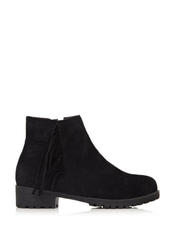women Suede Pure Color Fringe Ankle Boots - BLACK 34