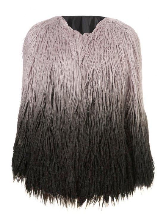 fashion Ombre Faux Fur Long Sleeves Coat - DUN S