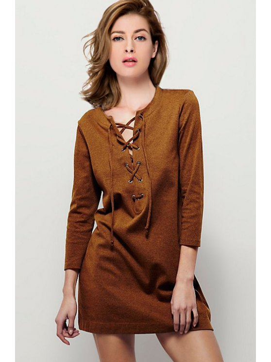 fancy All Laced Up Shift Dress - CAMEL S