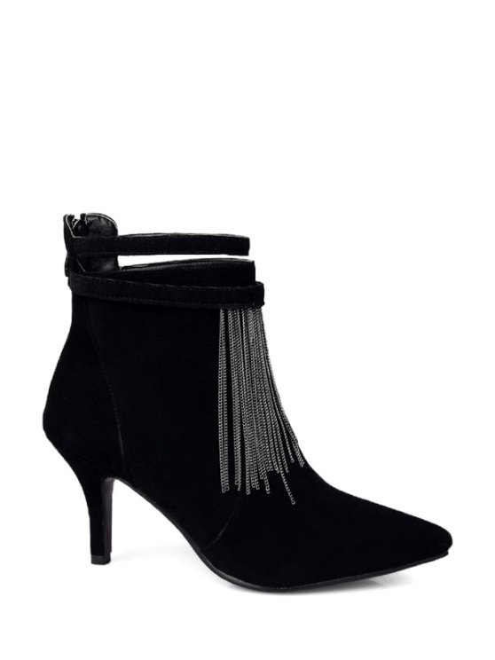 online Fringe Pointed Toe Suede Ankle Boots - BLACK 34